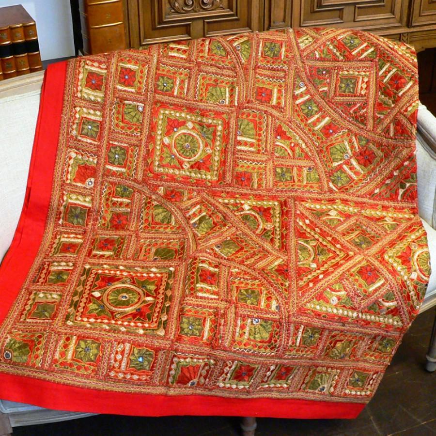 Красное индийское покрывало, 220х250 см